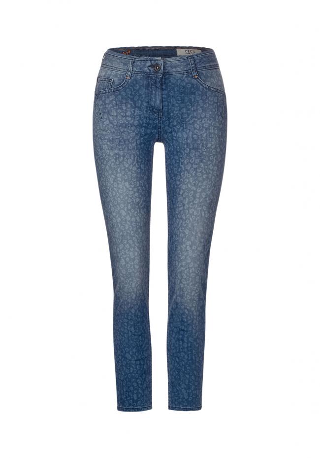 Jeans Charlize mit Leo-Muster  Blau | W26/L28