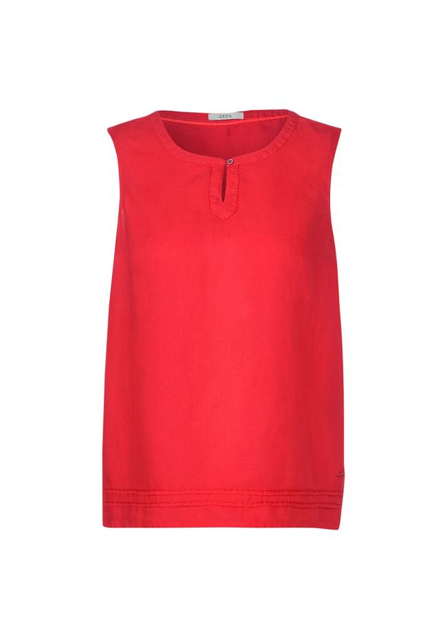 Top aus Leinen  12225|SIZZLING CORAL RED | S
